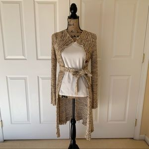 BCBG Long Button Down Cardigan with tie (size L)